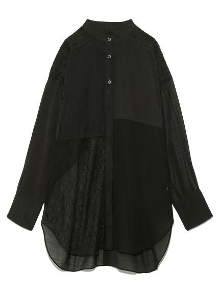 ミックスバンドカラーレースシャツ(BLK-F)