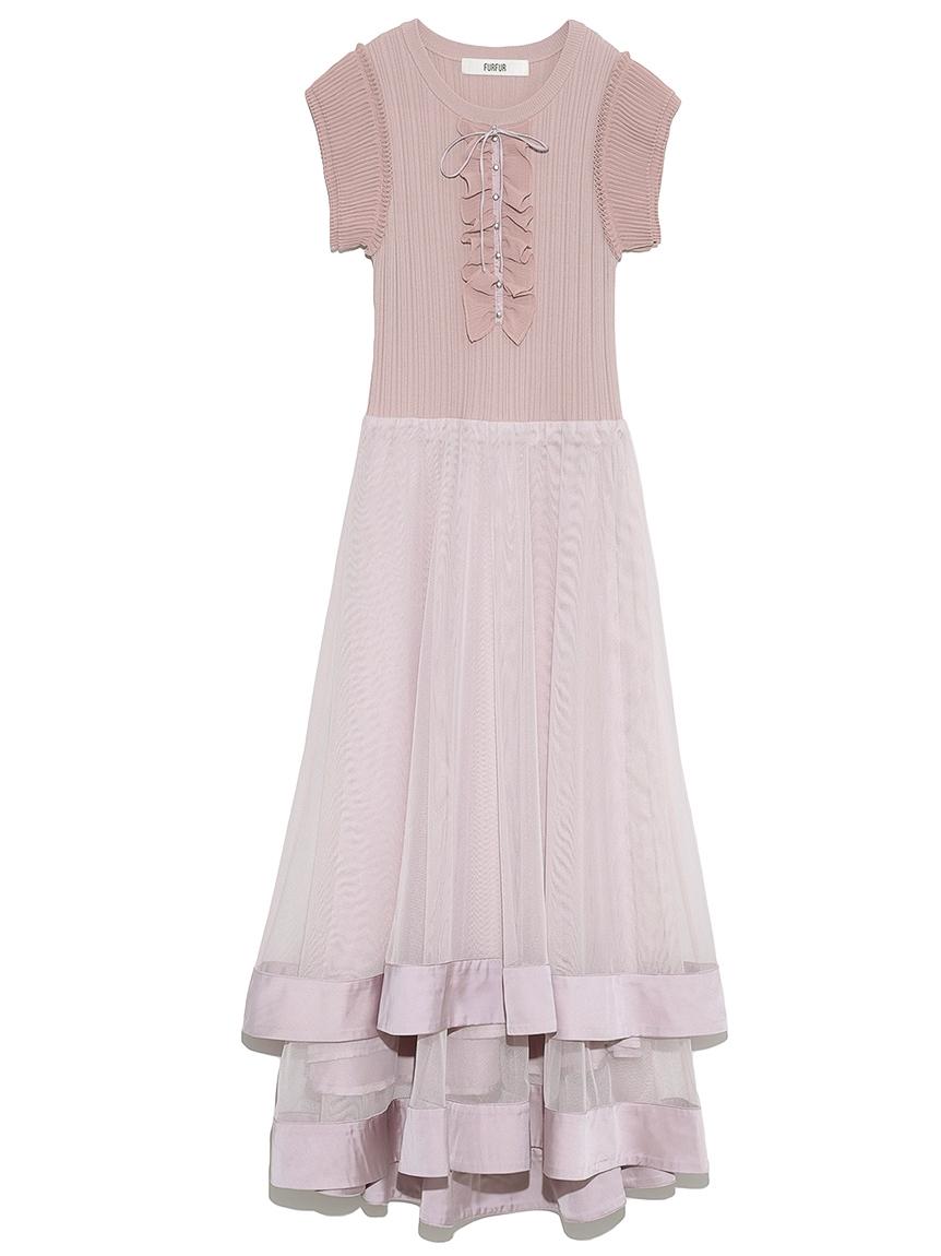 リブチュールニットドレス