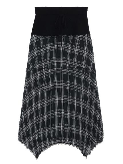 シアーチェックコンビスカート(BLK-F)