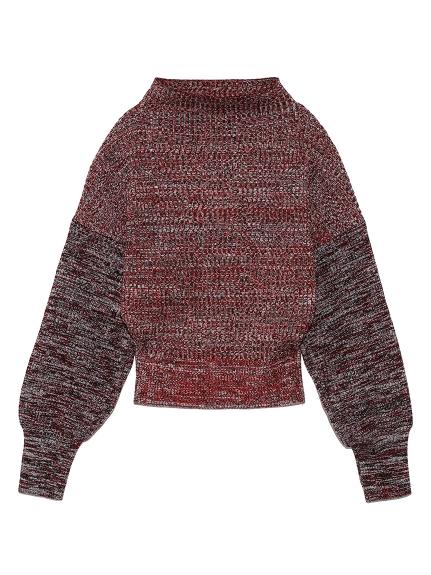 ミックスカラーボトルネックセーター(RED-F)