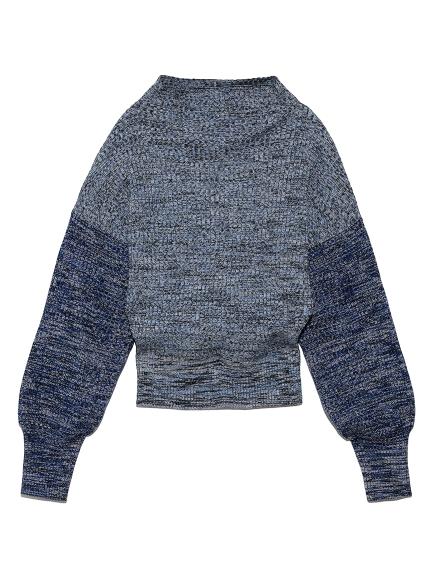 ミックスカラーボトルネックセーター(BLU-F)