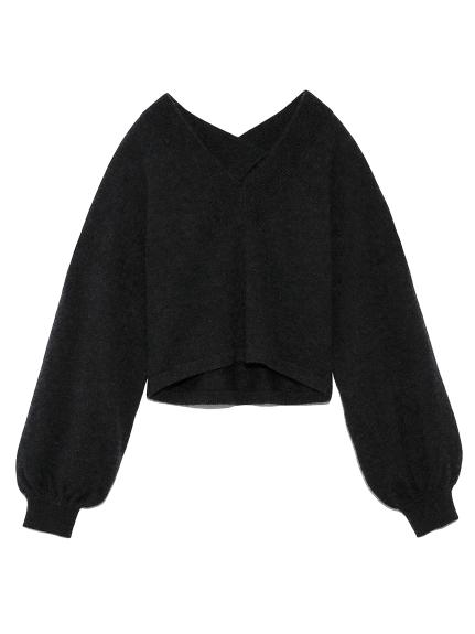 カシミアVネックセーター(BLK-F)