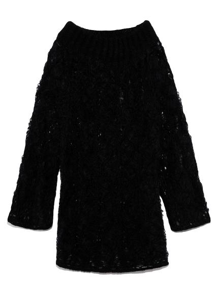 ヘアピン編みモヘアセーター(BLK-F)