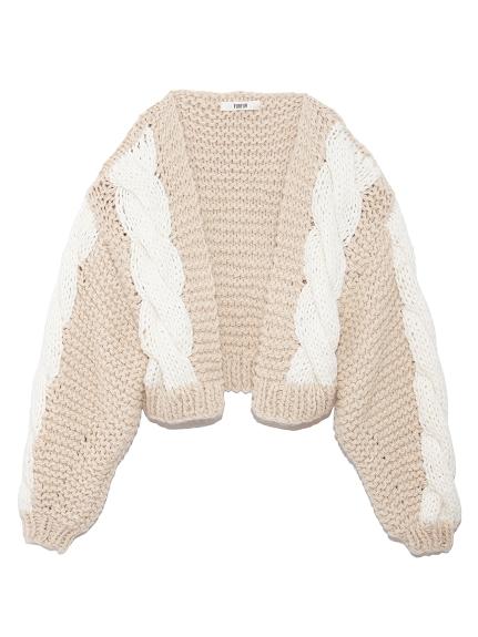 手編みケーブルカーディガン