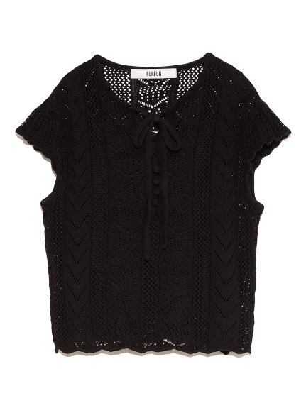 レース編みセーター(BLK-F)