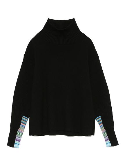 マルチボーダースリーブセーター(BLK-F)
