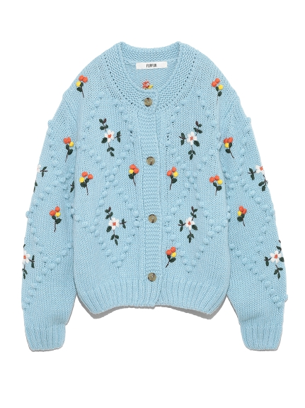 玉編み刺繍カーディガン