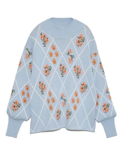 フラワーグリッドセーター