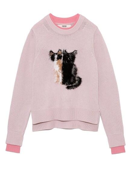 キャットジャガードセーター
