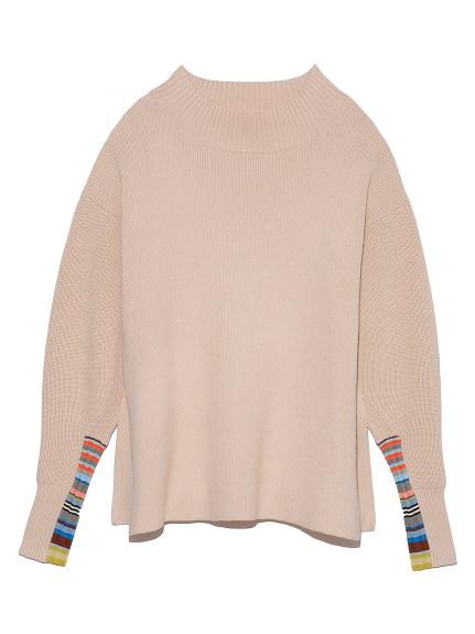 マルチボーダースリーブセーター(BEG-F)