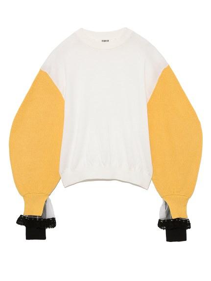 配色スリーブセーター