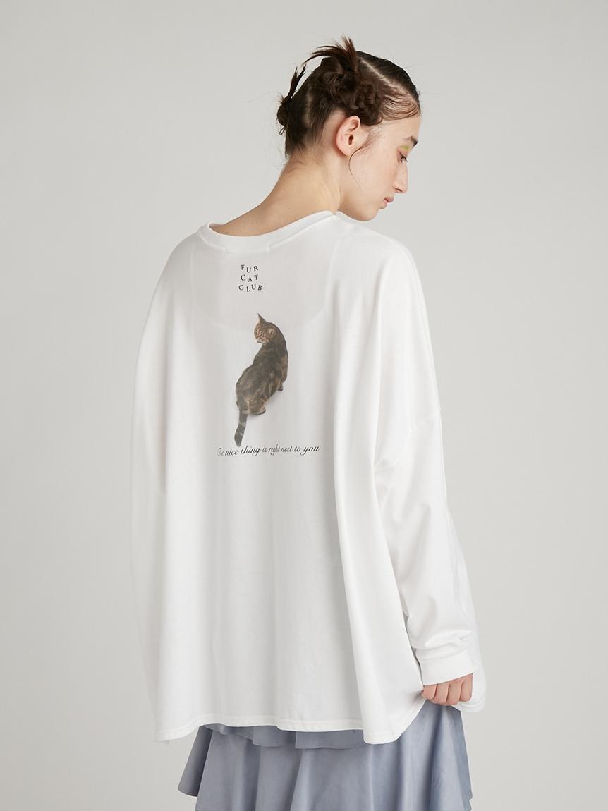 猫プリントオーバーサイズ長袖T | RWCT214042