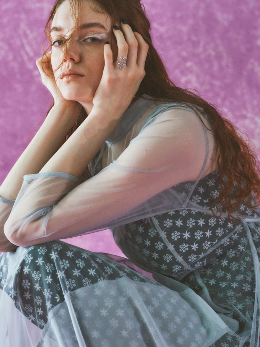 フラワー刺繍ロングドレス   RWFO215044