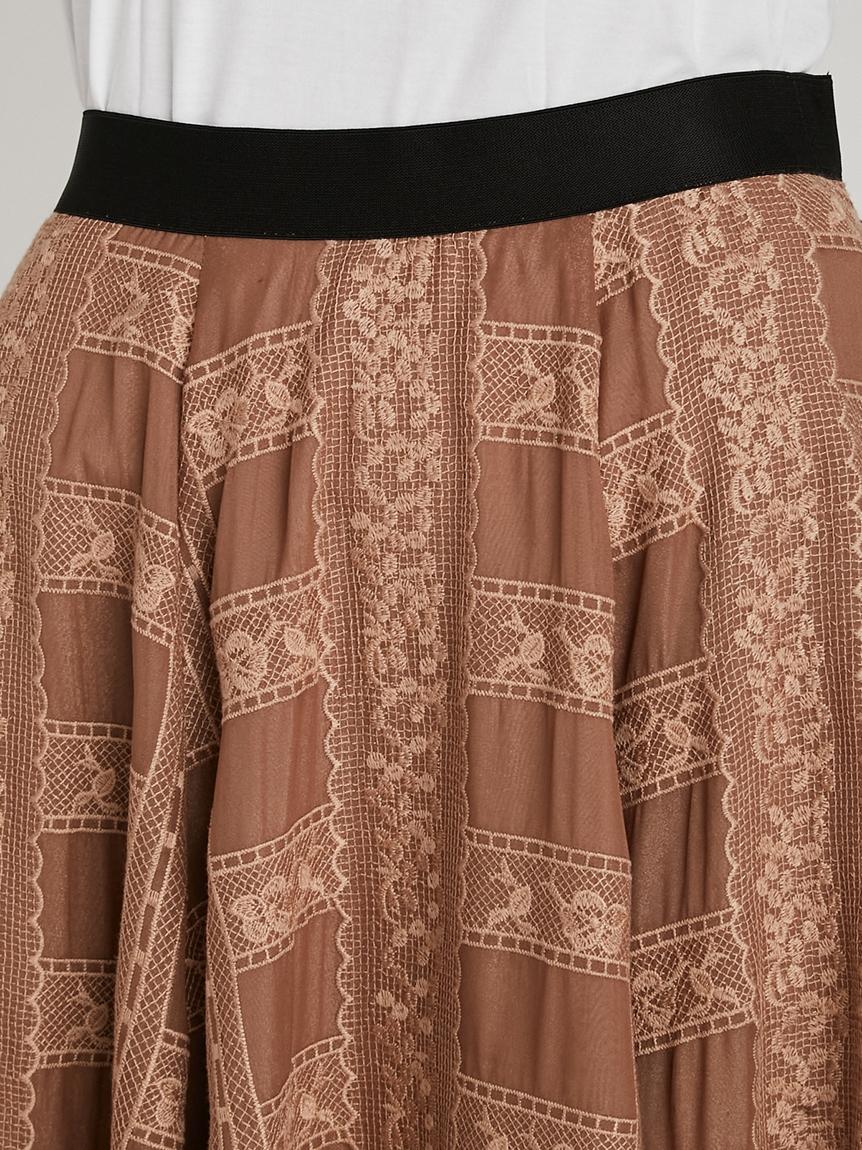 格子レース刺繍スカート   RWFS214031