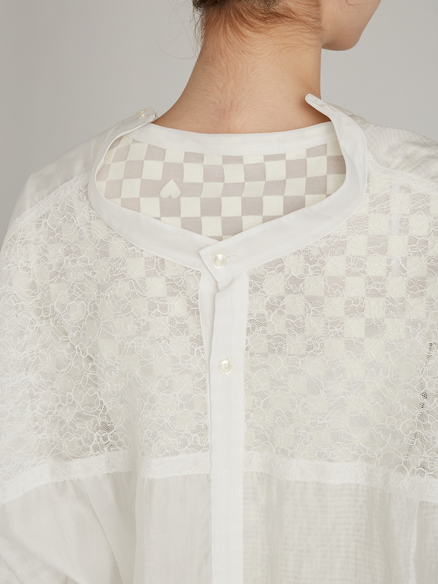 ミックスバンドカラーレースシャツ | RWFT214080