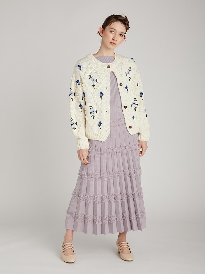 玉編み刺繍カーディガン | RWNT214023