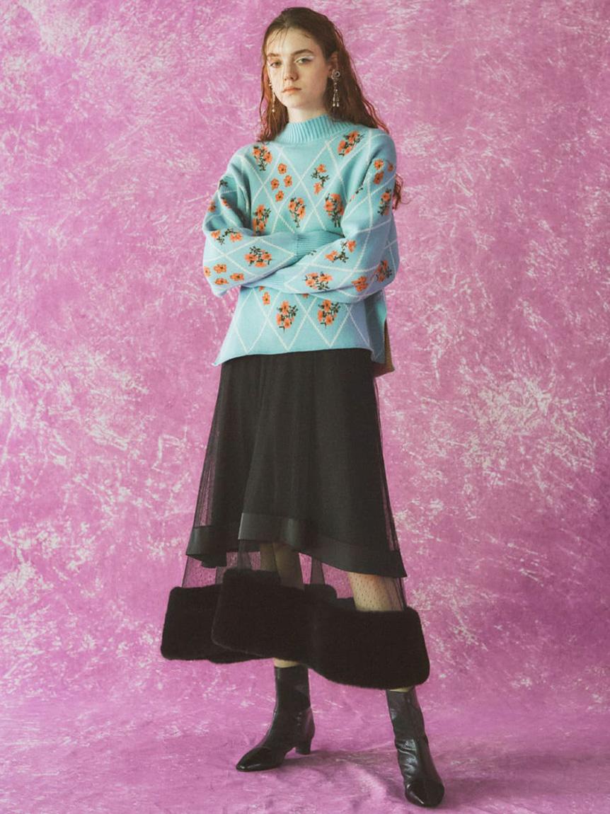 フラワーグリッドセーター | RWNT215033