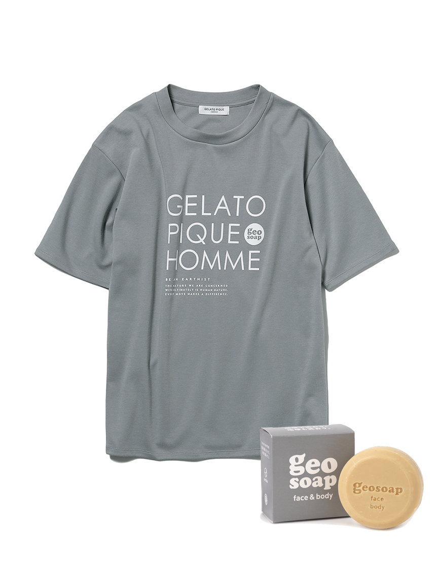 【GELATO PIQUE HOMME】 geo soap ワンポイントTシャツ&ソープSET(GRY-M)