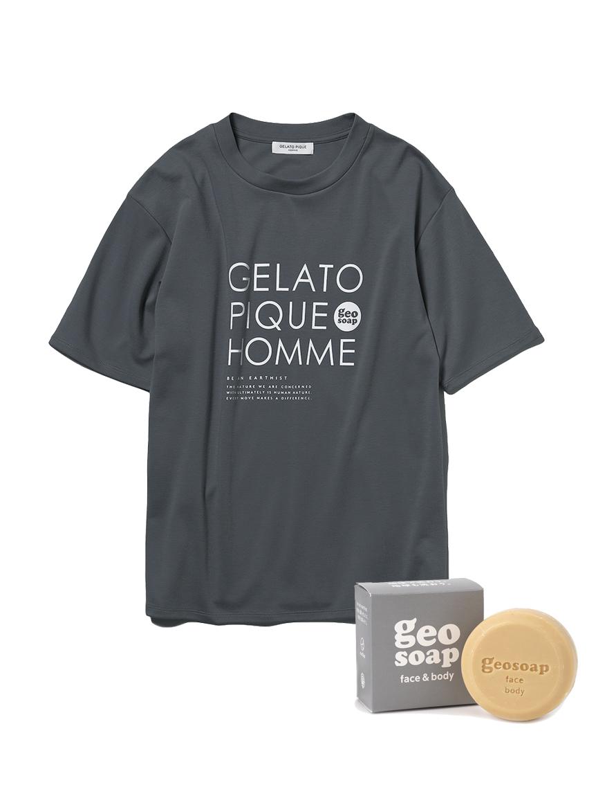 【GELATO PIQUE HOMME】 geo soap ワンポイントTシャツ&ソープSET(DGRY-M)
