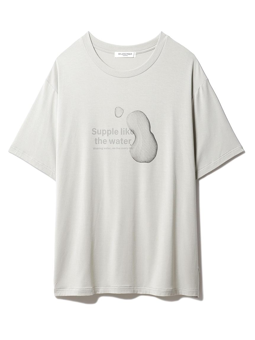 【GELATO PIQUE HOMME】 レーヨンロゴTシャツ(OLV-M)