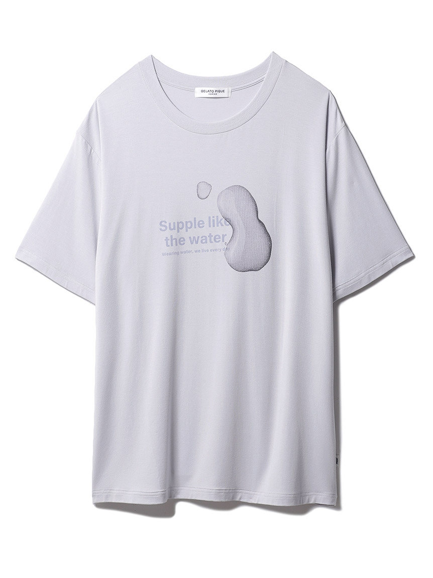 【GELATO PIQUE HOMME】 レーヨンロゴTシャツ(BLU-M)