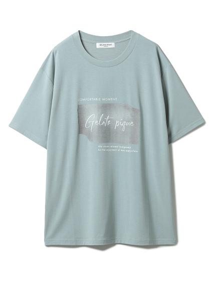 【GELATO PIQUE HOMME】 ワンポイントレーヨンロゴTシャツ(BLU-M)