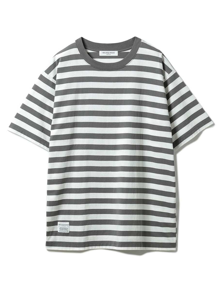 【GELATO PIQUE HOMME】 オーガニックコットンボーダーTシャツ(GRY-M)