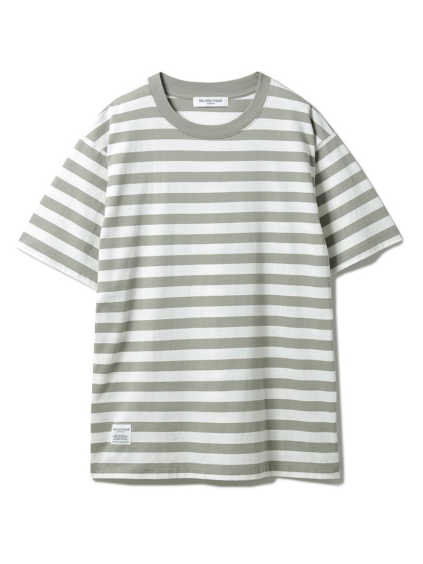 【GELATO PIQUE HOMME】 オーガニックコットンボーダーTシャツ(OLV-M)