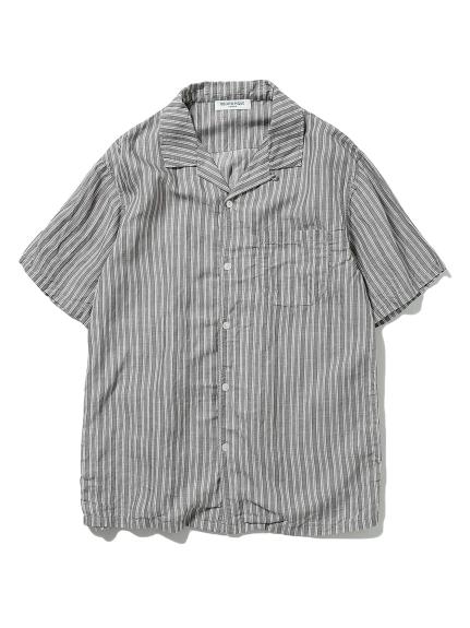 【GELATO PIQUE HOMME】リネンミックスストライプシャツ