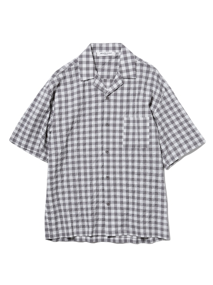 【GELATO PIQUE HOMME】オーガニックコットンギンガムチェックシャツ(GRY-M)