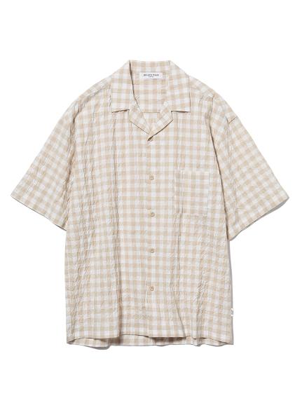 【GELATO PIQUE HOMME】オーガニックコットンギンガムチェックシャツ(YEL-M)