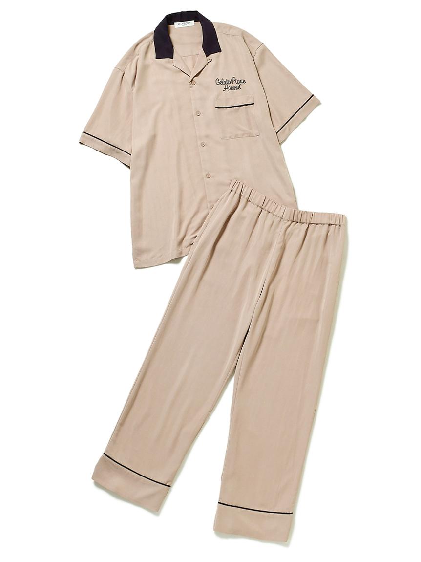 【GELATO PIQUE HOMME】EC限定 ワンポイントロゴボーリングシャツ&パンツセット(PNK-M)