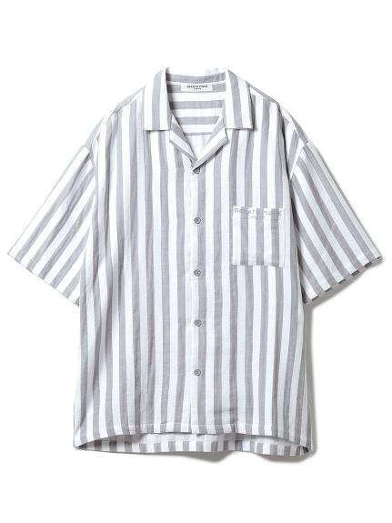 【GELATO PIQUE HOMME】 オーガニックコットンストライプシャツ
