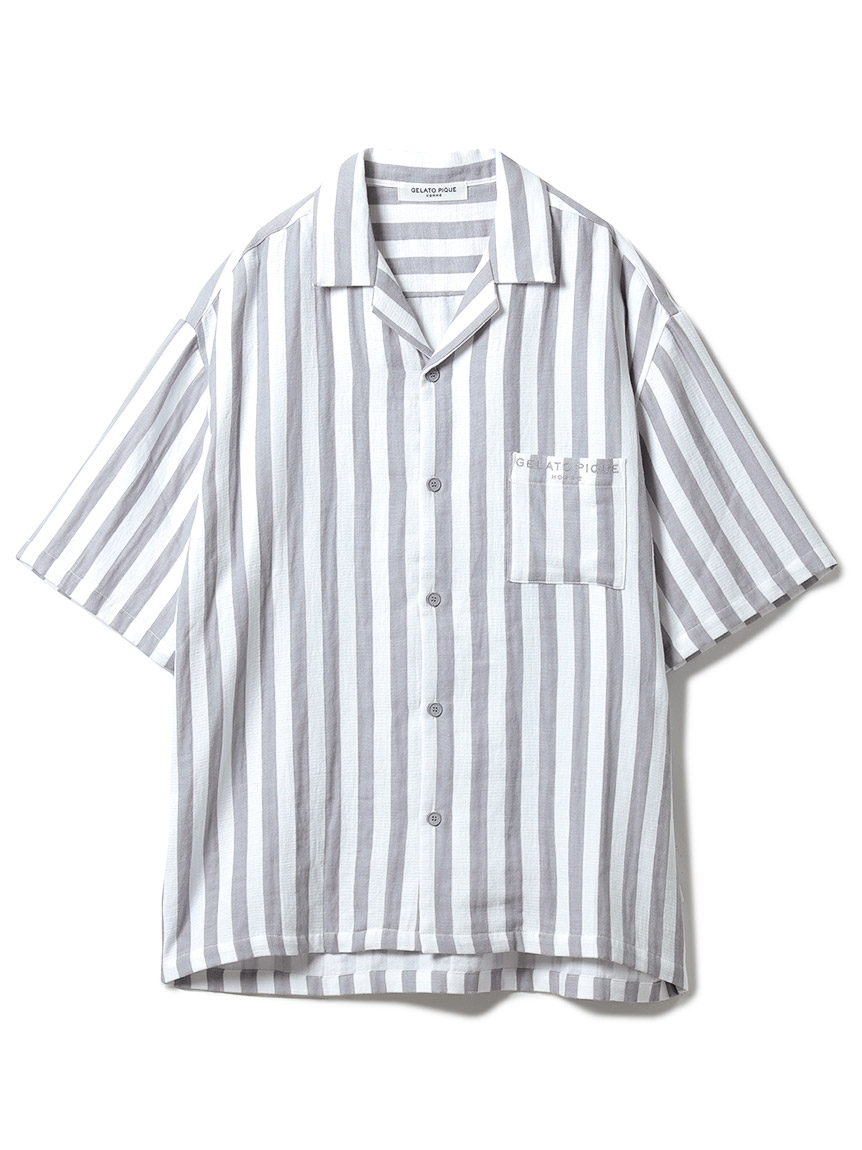 【GELATO PIQUE HOMME】 オーガニックコットンストライプシャツ(CGRY-M)