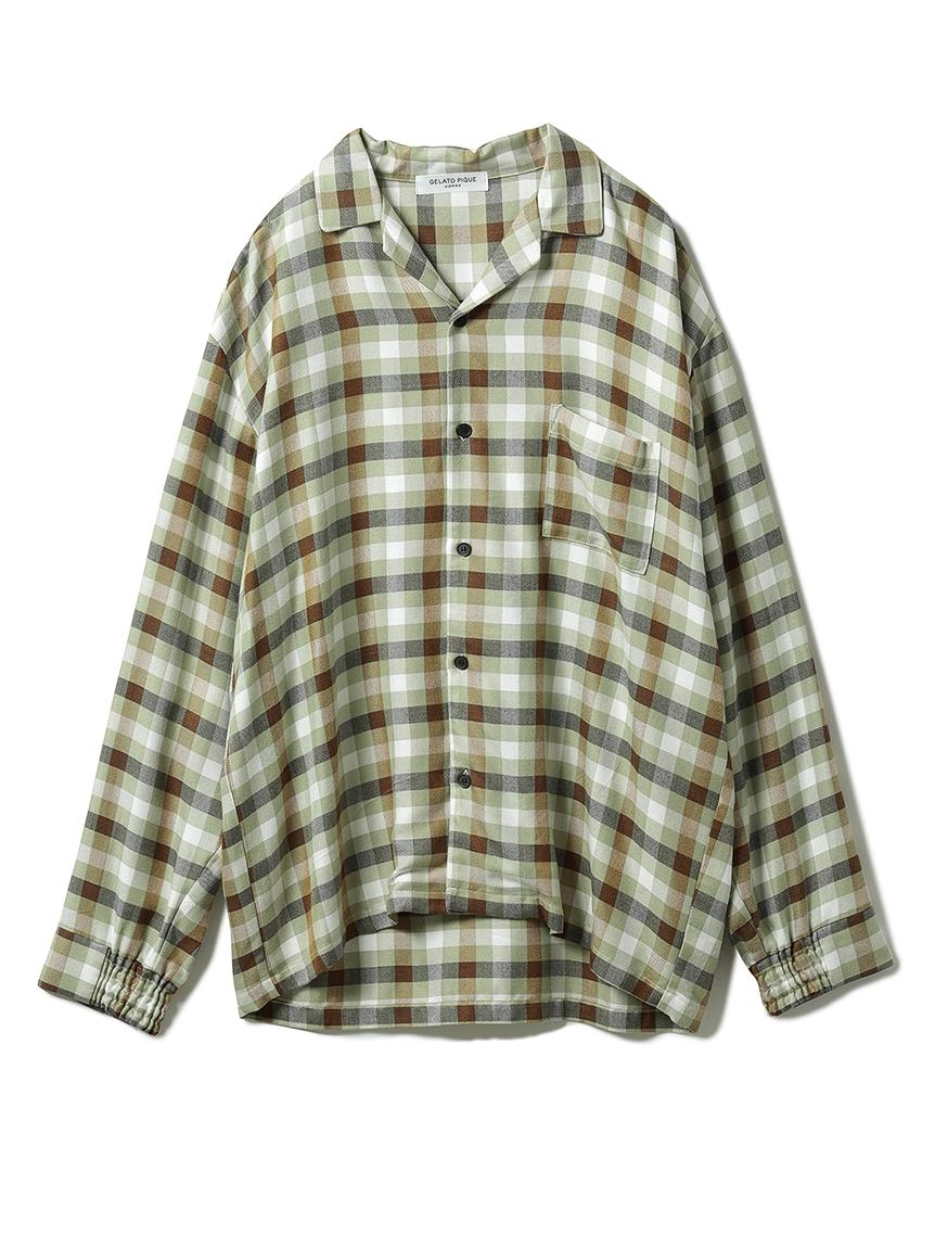 【GELATO PIQUE HOMME】 レーヨンネルガンクラブチェックシャツ(OLV-M)
