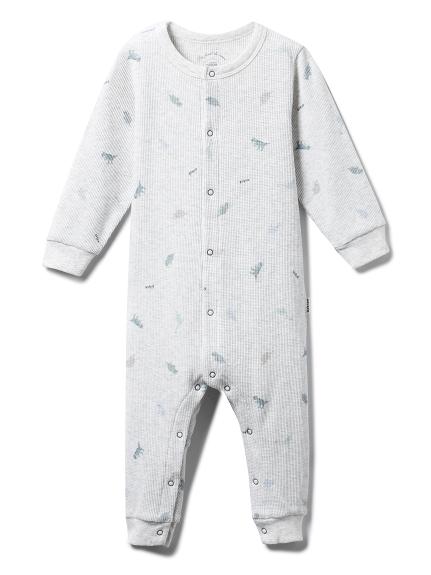 【BABY】ダイナソー baby ワッフルロンパース