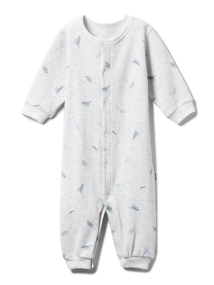 【BABY】【新生児】ダイナソーワッフル2wayオール