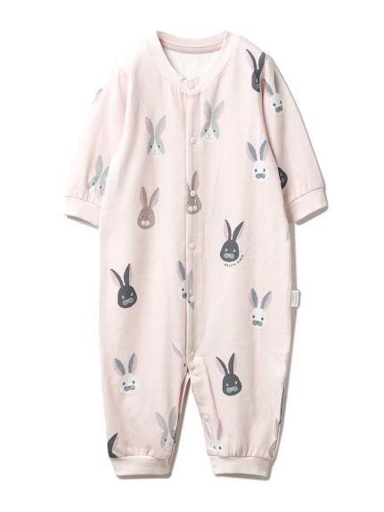 【新生児】ウサギモチーフ2wayオール(PNK-50)