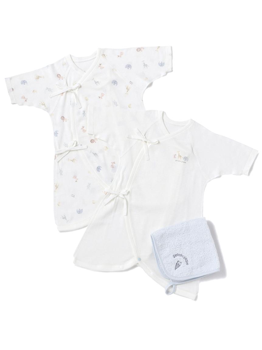 【ラッピング】Baby新生児アニマル柄コンビ肌着&ハンドタオルSET(BLU-50)