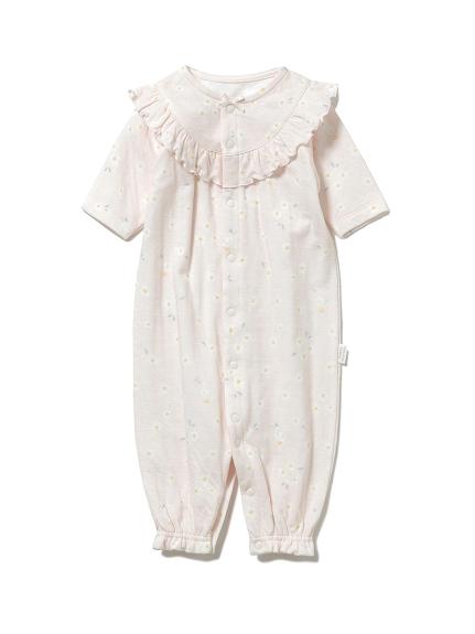 【BABY】デイジーモチーフ新生児2wayオール(PNK-50)