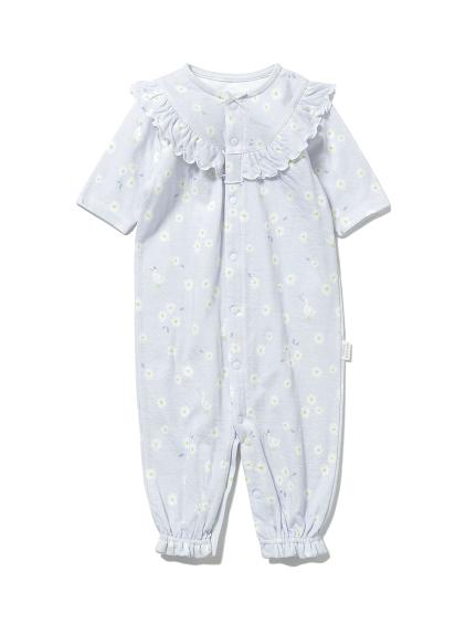 【BABY】デイジーモチーフ新生児2wayオール(BLU-50)
