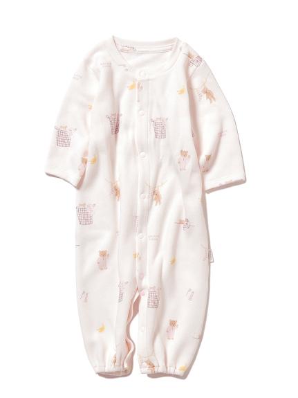 【BABY】モーニングベア新生児2wayオール(PNK-50)