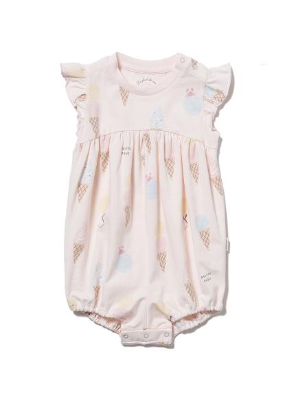【BABY】アイスクリームアニマルモチーフ baby フリルロンパース(PNK-70)