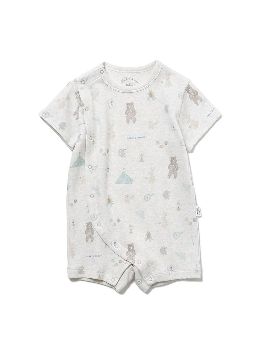 【BABY】 アニマルキャンプモチーフ baby ロンパース(GRY-70)