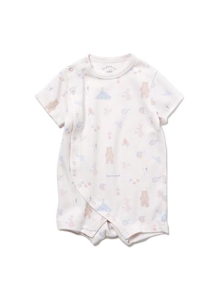【BABY】 アニマルキャンプモチーフ baby ロンパース(PNK-70)