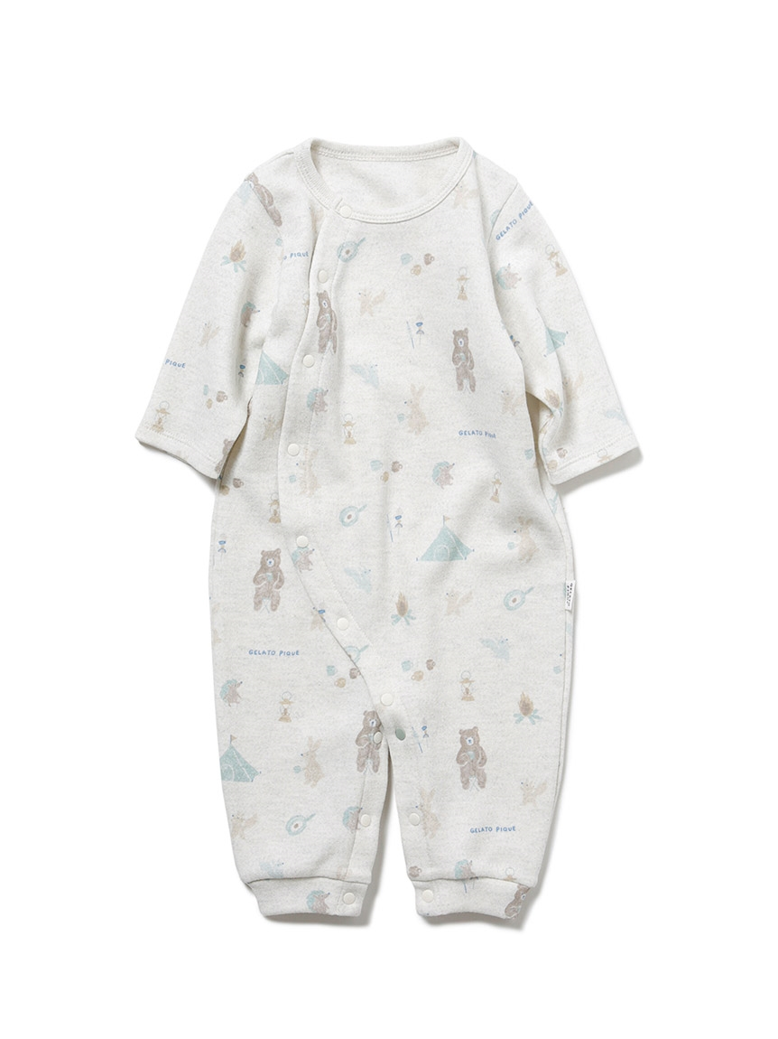 【BABY】 アニマルキャンプモチーフ新生児2wayオール