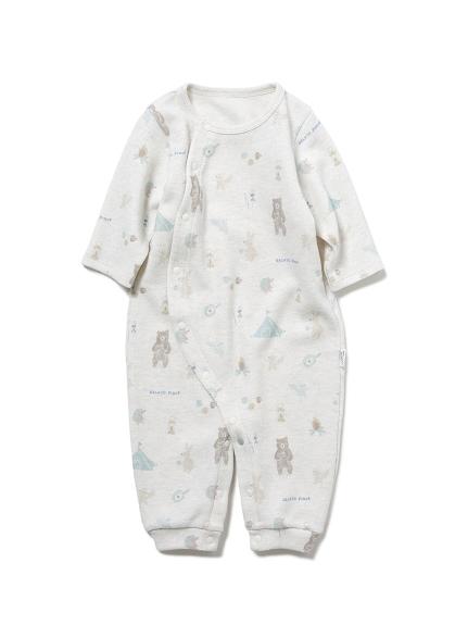【BABY】 アニマルキャンプモチーフ新生児2wayオール(GRY-50)