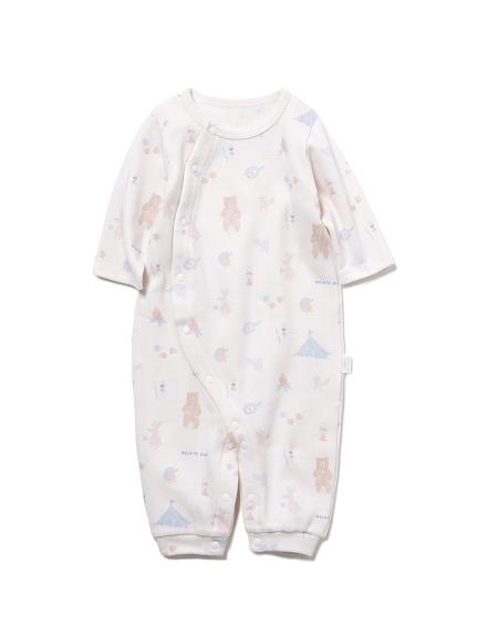【BABY】 アニマルキャンプモチーフ新生児2wayオール(PNK-50)