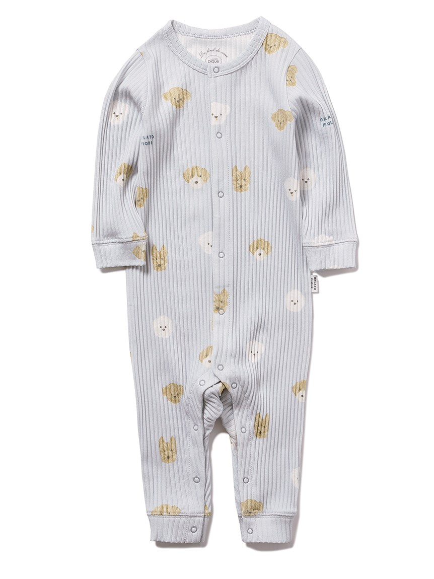 【BABY】メレンゲドッグ柄 baby ロンパース(BLU-70)