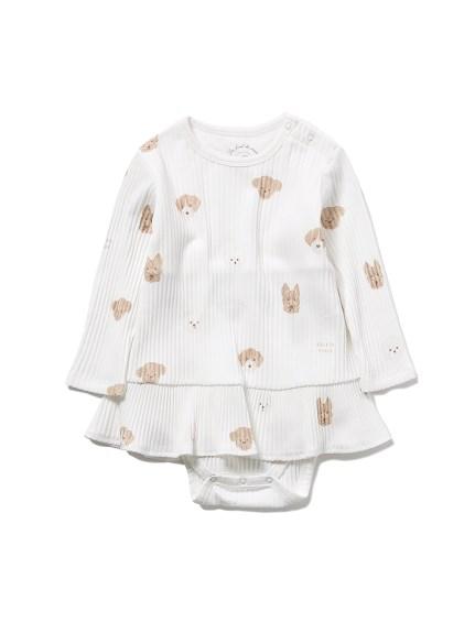 【BABY】メレンゲドッグ柄 baby ショートロンパース